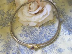 Vintage Accessocraft NYC Gold Snake Chain Choker Necklace.
