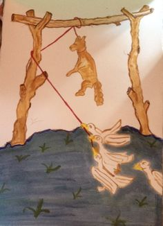 The geese hanging the fox - after an illustrated manuscript. Just loved this image - thought I would do  version of it.