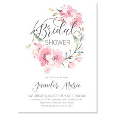 Sakura Wreath Bridal Shower Invitation | www.foreveryourprints.com