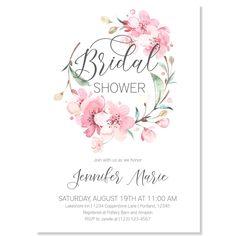 Sakura Wreath Bridal Shower Invitation | www.foreveryourprints.com