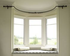 Wrought iron bay window curtain poles - made to measure Bay Window Curtains Living Room, Window Seat Curtains, Bay Window Curtain Poles, Bay Window Blinds, Home Curtains, Living Room Windows, Curtains For Bay Windows, Curved Curtain Pole, Bay Window Seats
