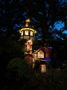 Joachim Tantau - Small Castle built as a kids´ playground with fancy lighting at night. Small Castles, Playground, Architecture Design, Fancy, Lights, Building, Kids, Home, Children Playground
