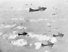B-17 Flying Fortresses of the U.S. Eighth Air Force pass through a flak-filled sky on a raid over Berlin, 6 March 1944. German air defenses were particularly thick around Berlin and it was only the numerical superiority of the Allies that allowed successful area bombing, often though at the expense of heavy casualties among the attackers.