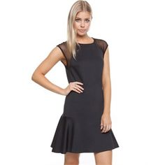 Atmos&Here Scuba Fit & Flare Dress Dresses (Blue & Black) Free Delivery - yazoos clothing
