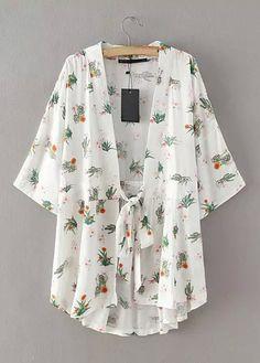 V-Neck Floral Kimono|Disheefashion