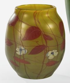 Tiffany Studios CARVED CAMEO VASE engraved 230D L.C. Tiffany-Favrile favrile glass