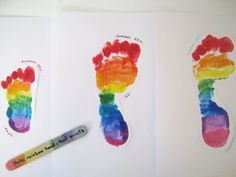 rainbow footprint - too cute Kids Crafts, Family Crafts, Baby Crafts, Summer Crafts, Cute Crafts, Crafts To Do, Preschool Crafts, Projects For Kids, Arts And Crafts