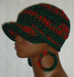 Pan-African Colors Chunky Crochet Baseball Cap and Earrings by Razonda Lee