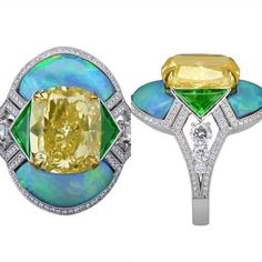 Yellow diamond and opal