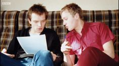 Rik and Ade writing something highly amusing Comedy Actors, Comedy Duos, Witty Insults, Rude Hand Gestures, Rik Mayall, Great Comedies, British Comedy, Young Ones, Belly Laughs