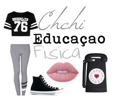 """""""Chichi - Educação Fisica"""" by graziele-anjos ❤ liked on Polyvore featuring Boohoo, Sundry, Converse and Lime Crime"""