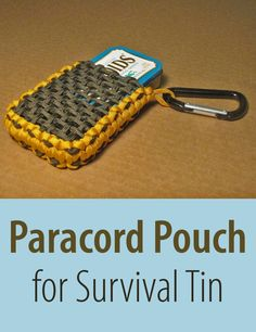 Altoids tins are the perfect container for a small, pocket survival pack. This paracord pouch allows you to pack your tin tight without worry of it popping open. It also makes it easy to clip on a carabiner and attach it to your pack!