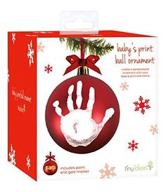 Tiny Ideas Babyprints DIY Handprint or Footprint Ball Ornament, Red  Make your own baby handprint ornament, and make this is holiday to remember and celebrate forever. This #Christmas red ornament includes washable and safe for #baby #paint so you can add his or her print. Also includes a marker to write a name! At Tiny Ideas we aim to create genuine, quality products to celebrate your special moments in life.
