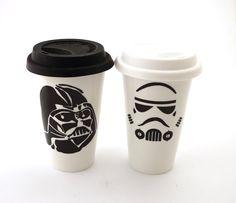 Star wars R Darth Vader Storm Trooper Travel mug by LennyMud