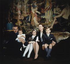 graceandfamily:  1966-Prince Rainier holding Princess Stephanie, Princess Caroline, Princess Grace, Prince Albert