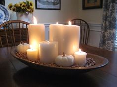 using my grandmother s dough bowl in fall decor, seasonal holiday d cor, thanksgiving decorations, The first look I used was very simple with pillar candles and baby boo pumpkins Dining Room Table Centerpieces, Summer Centerpieces, Centerpiece Ideas, Dining Table, Candle Centerpieces, Christmas Centerpieces, Autumn Decorating, Decorating Ideas, Decor Ideas