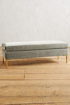 Velvet Edlyn Bench - this comes in lots of beautiful colors - like the brass legs. Bench Furniture, Accent Furniture, Home Furniture, Furniture Ideas, Upholstered Bench, Ottoman Bench, Home Bedroom, Bedroom Decor, Farm Bedroom