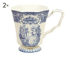 Set di 2 Tazze da the in ceramica blu - 13x9x12 cm