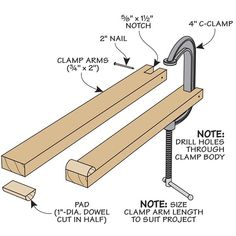 Here's a simple way to extend the reach and the life of your humble old C-clamp. Wood Tools, Diy Tools, Advertise Your Business, Homemade Tools, Workshop Ideas, Free Tips, Woodworking Tips, Cool Gadgets, Clamp