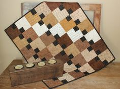 Hop Scotch Primitive quilted table runner by ThePrimitivePear