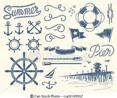 Vector - Vintage nautical set - stock illustration, royalty free illustrations, stock clip art icon, stock clipart icons, logo, line art, EPS picture, pictures, graphic, graphics, drawing, drawings, vector image, artwork, EPS vector art