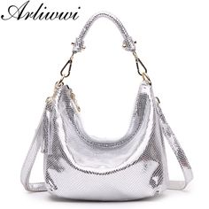 cb19c4835c Arliwwi Brand Elegant High Quality Metalic Real Leather Handbags Shiny Luxury  Serpentine Pattern Shoulder Bags Women
