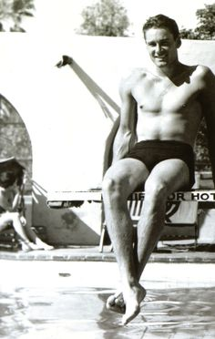 """Errol Flynn. I love that the photo has been cropped so now the word """"hotel"""" unintentionally (but very appropriately) says """"hot""""."""