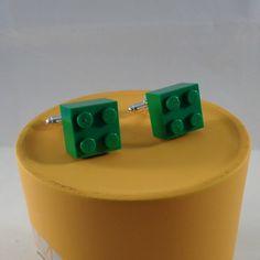 Green brick cufflinks made with real Lego bricks by MooseintheMint