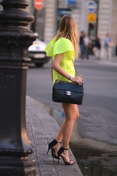 I'm crushin' on chartreuse this spring. Looks great combined with a black Chanel bag & great heels too.