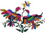 The Otomi of the Tenango de Doria Municipio have developed a wonderfully colorful style of embroidery. These zoomorphic figures are embroidered on hand drawn outlines or stamped. The color combination can vary from multi colored to a single tone.