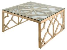 Brass coffee table with trellis inspiration? Yes please!