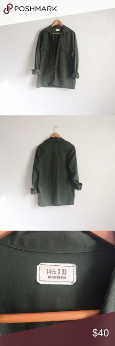 🆕 Vintage army green utility jacket Fits like a women's M/L. I usually wear an XS/S in tops and this has an oversized fit on me. The sleeves are long but I rolled them up for the photo. It came with patches on the front pockets and shoulder but I took them off because I didn't feel right wearing them (I'll include them though). Would make a cool diy project if you want to add your own patches! Jackets & Coats