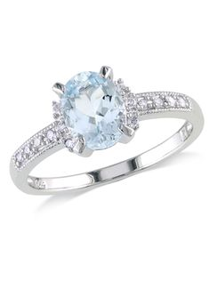 ICE.COM Sterling Silver 0.07ct Diamond and 1ct Aquamarine Ring