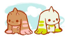 Lopmon and Terriermon Cyber Sleuth, Chibi, Digimon Adventure 02, Digimon Tamers, Digimon Digital Monsters, Pokemon Fusion, Cute Doodles, Sailor Venus, Sailor Mars