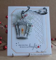 "I have used Tim Holtz ""Hanging Lantern"" die Used Crackle Accents, when dry added DecoArt Snow-tex with a brush. Same treatment to Spellbinders "" ; Christmas Card Crafts, Christmas Lanterns, Christmas Cards To Make, Christmas Makes, Noel Christmas, Xmas Cards, Handmade Christmas, Holiday Cards, Vintage Christmas"