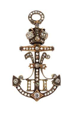 Brooch - Imperial Russian Tsar Nicholas II Diamond Anchor.