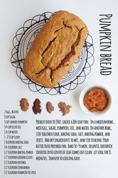 Pumpkin Bread.  5 bread recipes for fall   how to write on a loaf / a subtle revelry