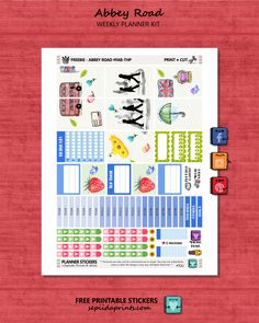 Free Printable Abbey Road Watercolor Planner Stickers from Sepiida Prints