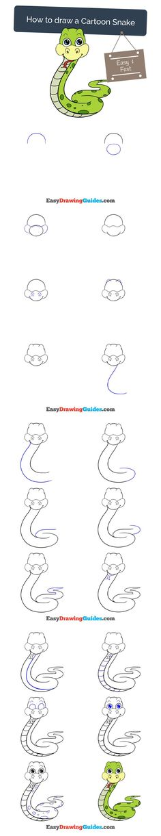 Learn How to Draw a Cartoon Snake: Easy Step-by-Step Drawing Tutorial for Kids and Beginners. #Cartoon #Snake #drawingtutorial #easydrawing See the full tutorial at https://easydrawingguides.com/draw-cartoon-snake/.