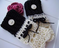 Ebony & Ivory crochet wrist-warmers can be made to order also.