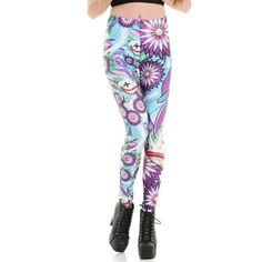 3b705967512 Floral Queen - Leggings. Fish Flower Floral Leggings Women s Fashion  Leggings Soft Plus Size Stretch Pants 3672