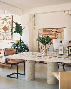 "LRNCE on Instagram: ""STUDIO with our new (700 kg) Terrazzo table  #lrnce #studio #terrazzo #marrakech #morocco"" Terrazzo, Japanese Minimalism, Mid Century House, Studio, Interior Styling, Interior Inspiration, Mid-century Modern, Dining Table, Dining Rooms"
