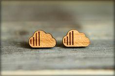 Modern Cloud Studs, Laser Cut Wood Earrings