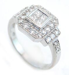 14k White Gold .75cttw Diamond Ring Size 6.25 No Reserve