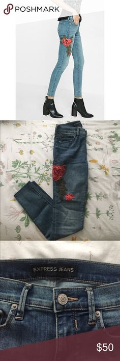 """Mid Rise Rose Embroidery Skinnies Express """"mid rise rose embroidery"""" jean legging. In brand new condition, only worn once. Super cute and comfy, sold out online. It's a stretchy denim, but they're very snug. For reference, I'm a size 2/4, these are a 2R and are a little too tight on me. I'm only getting rid of them because they're a size too small :( Express Jeans Skinny"""