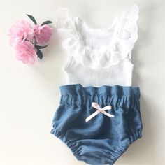 nice High Waisted Denim Bloomers and White lace tank - baby, girl, summer by http://www.polyvorebydana.us/little-girl-fashion/high-waisted-denim-bloomers-and-white-lace-tank-baby-girl-summer/
