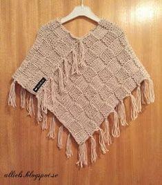 Så blev det ännu en stickad liten poncho. Denna gången i   dubbelt Ladygarn färgnr 44911, med 9 mm's stickor. Upp   till c... Poncho Knitting Patterns, Knitted Poncho, Crochet Shawl, Knit Patterns, Knit Crochet, Crochet Projects, Couture, Wool, Sweaters