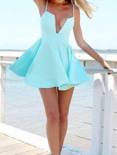 Light Blue Camis Skate Dress | Choies