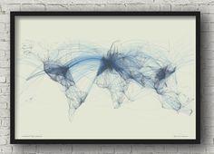 World Map Flight Patterns Map Poster  Air Traffic  Flight