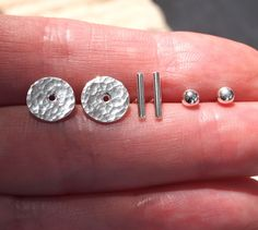 Silver Interchangeable Earring Set Stud Earrings Dot Dash Disc 28 00